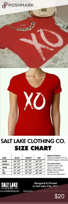 Cute X & O Top! Cute and girly red and pink x's and o's v-neck top! The top is red and the X and O is pink.   Perfect for accessorizing and layering! Salt Lake Clothing Tops Tees - Short Sleeve