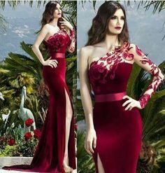red prom dresses 2019 one shoulder long sleeve lace mermaid side slit velvet evening dresses gowns Hijab Evening Dress, Lace Evening Dresses, Elegant Dresses, Evening Gowns, Bridesmaid Dresses, Prom Dresses, Formal Dresses, Tailored Dresses, Lace Mermaid