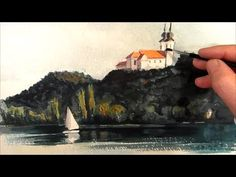 Watercolor Beach and sea tutorial speed painting - akvarel strand 2013 - YouTube
