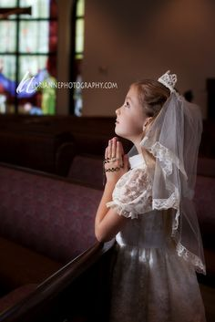 Girl first communion portrait