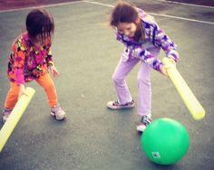 Pool noodle, bouncy ball hockey- InnerChildFun