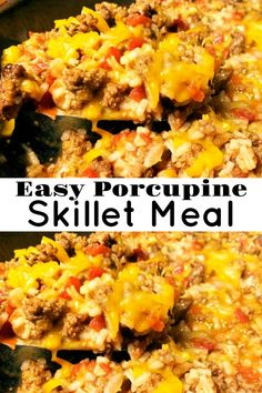 Easy Porcupine Skillet – Aunt Bee's Recipes Hamburger Meat Recipes Easy, Beef Recipes For Dinner, Ground Beef Recipes, Mexican Food Recipes, Cooking Recipes, Hotdish Recipes, Beef Casserole Recipes, Easy Weeknight Meals, Easy Meals