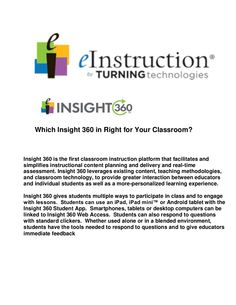 Which insight 360 is right for your classroom? by William  McIntosh via slideshare