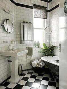 New York City Bathroom Inspiration Clic Black And White Tile Flooring With Subway Tiles As The Walls Add A Bit Of Photography