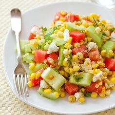 Watermelon-Feta Fresh Corn Salad - Cook's Country..had this tonight as a side dish..delish!