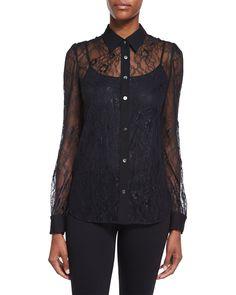 Mariah Long-Sleeve Lace Blouse, Black, Women's, Size: 10 - Diane von Furstenberg
