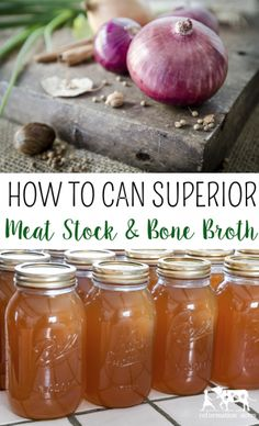 Basic Meat Stock (Recipes for Chicken, Beef, and Pork Stock) Don't settle for bland stock! Learn how to make SUPERIOR meat stock using these tips and SECRET INGREDIENTS! (Including recipes for chicken stock, beef stock, and pork stock. Pressure Canning Recipes, Home Canning Recipes, Canning Tips, Cooking Recipes, Pressure Cooking, Canned Meat, Canned Food Storage, Canning Food Preservation, Preserving Food