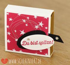 pinke Hanuta Verpackung mit Zieh-Effekt Stampin'Up Goodie Farben: Wassermelone, Schwarz