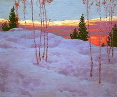 Similiar to view from Barry's kitchen Frank Johnston (June 1888 – July was a Canadian artist associated with the Group of Seven. Group Of Seven Artists, Group Of Seven Paintings, Paintings I Love, Beautiful Paintings, Painting Snow, Winter Painting, Winter Art, Winter Landscape, Landscape Art