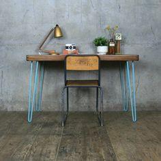 Reclaimed School Desk/Table with Hairpin Legs Reclaimed Furniture, Industrial Furniture, Vintage Furniture, Teak Table, Table Desk, Vintage Home Decor, Rustic Decor, Unique Desks, School Desks