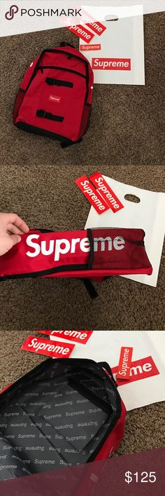 Supreme backpack Red supreme backpack! Brand new repo! Does not come with bag or stickers. Supreme Bags Backpacks