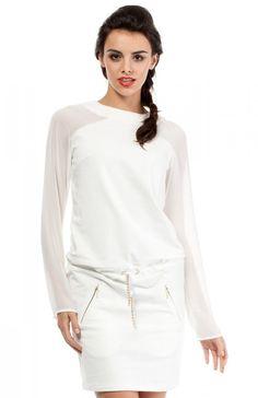 Moe MOE206 sukienka ecru Modna sukienka, szyfonowe długie rękawy, w pasie ściągana troczkiem