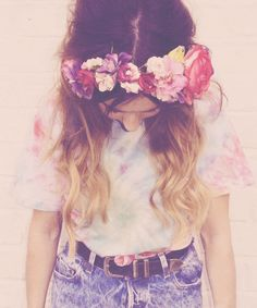 Love the flowers #flower #pretty #hair #brown #blond