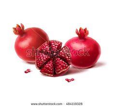 Pomegranates on white background. Digital illustration. Shana Tova, pomegranate, Rimon, Shofar, Yom Kippur, Sukkot, new year, Jewish new year, Jewish holidays. Israel, traditional fruit. Seven fruits
