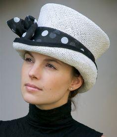 White Ladies Straw Hat Black Polka Dots Kentucky