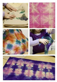 Tissue Paper Tie-Dye: from Land of Nod. Fold paper, wrap with rubber band, dip-dye, and unwrap, for FM strengthening, dexterity, and VP/VMI.