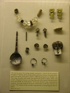 The Ashmolean Museum. Photographs courtesy Lindsay Kerr. Artifacts from a young woman's barrow grave, Chatham, Kent.