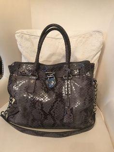 f3243a01241 Michael Kors Large Hamilton Python Embossed Snakeskin Leather Tote Satchel  Bag