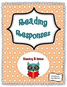 Reading Response sheets...Nicely organized and Free!