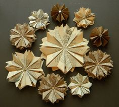 Unique Wedding Decor 50 Paper Star Ornaments Assortment Vintage Book Pages-Brown Paper- White Floral Design- MADE TO ORDER. $125.00, via Etsy.