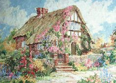 Marty Bell Wepham Cottage Completed Cross Stitch Picture. $125.00, via Etsy.