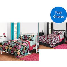 Bright Paisley Or Dotted Damask Bed in a Bag and Window Panels Bundle