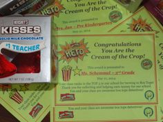 "I crunched the numbers and came up with awards and large hershey kisses for each of the 5 Top Classroom Teachers!  Love celebrating our ""Popping Successful Year with Box Tops""!  If you saw my top 50 and top 100 certificates from last year, this is an updated version of that certificate."