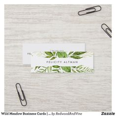 Wild Meadow Business Cards   Mini Modern Business Cards, Business Card Design, Green Business, Business Supplies, Office Supplies, White Elephant Gifts, Shades Of Green, Landscape Design, Landscape Architects
