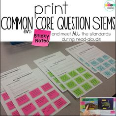 Print Common Core Question Stems on Sticky Notes and meet ALL the Core Standards during your read-aloud or guided reading. Perfect for rigorous text dependent questions. Reading Intervention, Reading Skills, Guided Reading, Teaching Reading, Close Reading, 2nd Grade Ela, Third Grade Reading, Second Grade Teacher, Common Core Ela