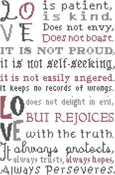 Counted Cross Stitch Modern Love is Patient Love is Kind Typeset Bible Verse 1st Corinthians 13:4