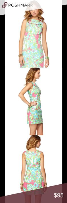 """Lilly Pulitzer Lindy Shift PB Pink a Delicacy It's time for the big derby! Dress like you're there (or maybe you are, jealous!!). This beaded neckline dress will take you to a party with floppy hats and horses, or to the club for dinner with your love - either way, you'll be bold and lovely.  Sleeveless Shift Dress With Cutout Beading Detail At Neckline. 18"""" From Natural Waist To Hem. Vintage Honeycomb Dobby - Print (100% Cotton). Dry Clean Or Hand Wash Cold. Imported.  Brand new with tag…"""