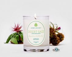 Desert Sage Candle  Nourish your soul with this delightfully fresh and sweet aroma. Soft herbal notes of clove and sage meld with a revitalizing blend of zesty citrus! Tones of lavender, patchouli and soft vanilla add warmth to this ethereal desert bouquet.