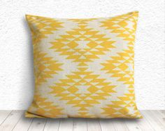 Pillow Cover, Aztec Pillow Cover, Tribal Pillow Cover, Linen Pillow Cover 18x18 - Printed Tribal - 005