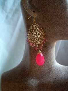 Earrings Hot Pink Gemstone and Czech Glass Gold Filigree. $55.00, via Etsy.