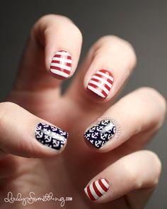 Nautical 4th of July manicure