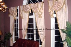 Swags and jabots over decorative rod..