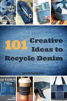 So I put together this roundup of 101 Creative Ideas to Recycle Denim Jeans. I hope it will give you inspiration for all the ways you can repurpose denim. denim projects 101 Creative Ideas to Recycle Denim Jeans - So Sew Easy Diy Jeans, Jeans Sobre Jeans, Diy With Jeans, Sewing Patterns Free, Free Sewing, Denim Bag Patterns, Skirt Patterns, Sewing Hacks, Sewing Projects