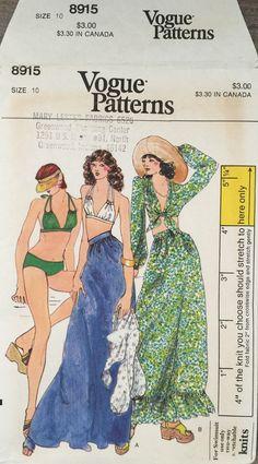 ef5db2c0ba Items similar to Vogue 8915 1970s 70s Hippie Boho Bohemian Bikini Beach  Cover Up Maxi Skirt Vintage Sewing Pattern Size 10 Bust 32.5