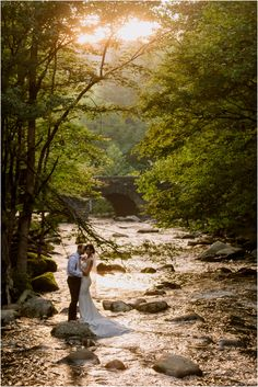 Spence Cabin wedding in the Smokies on the Little River in the Great Smoky Mountains National Park, with sunset photos on the Foothills Parkway. Cabin Wedding, Forest Wedding, Dream Wedding, Rustic Wedding, 1920s Wedding, Sunset Wedding, Wedding Things, Fall Wedding, Smoky Mountain Wedding