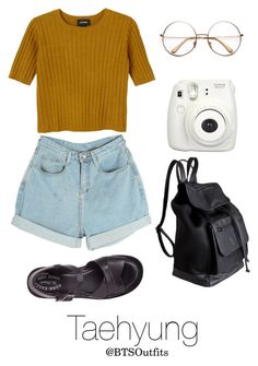 """""""Picnic Date with Taehyung"""" by btsoutfits ❤ liked on Polyvore featuring Monki, Kork-Ease, Pieces and Fujifilm"""