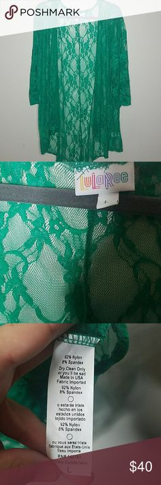LuLaRoe Lindsay Green lace LuLaRoe Lindsay.  Worn a few times, in great condition. LuLaRoe Tops