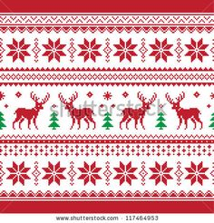Christmas and Winter knitted seamless pattern or card with deer - scandynavian style by RedKoala, via Shutterstock