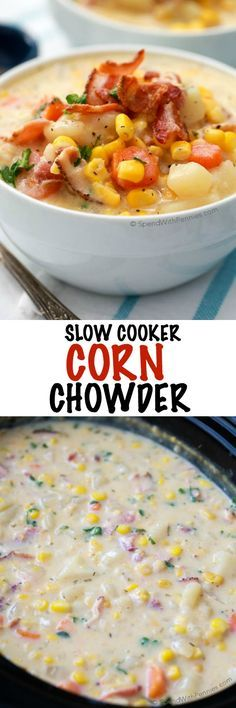 This easy Slow Cooker Corn Chowder simmers all day in the crockpot and is ready to serve when you are ready to eat. Fresh vegetables chunks of tender potato and smoky bacon add so much flavor while the creamy corn base adds a touch of sweetness. The pe Slow Cooker Corn Chowder, Bacon Corn Chowder, Slow Cooker Bacon, Crock Pot Slow Cooker, Crock Pot Cooking, Slow Cooker Recipes, Crockpot Recipes, Cooking Recipes, Chicken Corn Chowder