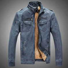 Men Leather Jacket Gender: MenOuterwear Type: Leather & SuedeCuff Style: ConventionalClothing Length: RegularClosure Type: ZipperFabric Type: DenimHooded: