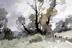 <b>Edward Wesson (1910-1983)</b> <br /> watercolour, <br /> Study of trees, <br /> signed, <br /> <i>13 x 19.5in.</i>