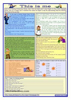 This is me Part 1 *** Reading comprehension for adults *** elementary level…