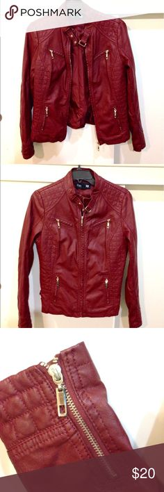 Forever 21 Pleather Jacket Really cool burgundy pleather jacket with gold zipper and buckle embellishments. Condition like new. Forever 21 Jackets & Coats Utility Jackets