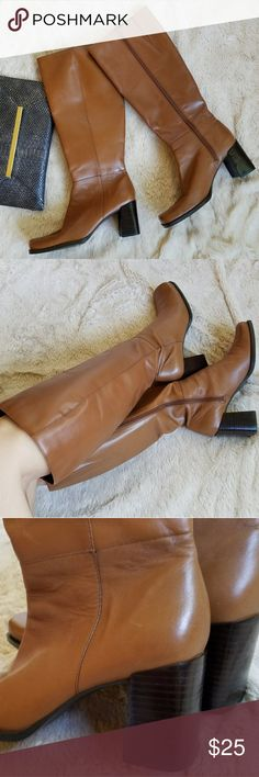 "Capezio camel leather heeled boots, 6.5-7 Labeled size 6, but they run big. 👢Beautiful camel colored leather boots have a 2.75"" stacked heel, 14"" shaft + approx 13.5"" circumference.👢 Elasticized gussets to accommodate slightly larger calves. Style name Andrea. Minor signs of wear on soles and a few nearly invisible scratches on the leather. Reposhing to a good home because they're too big for me!😢 For reference, my feet are approx 9"" long x 3"" wide. I usually wear size 6, sometimes 5.5…"