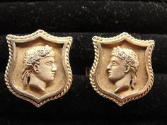 Estate 14K Gold Shield Cufflinks of Greek / Roman God with Wreath of Diamonds