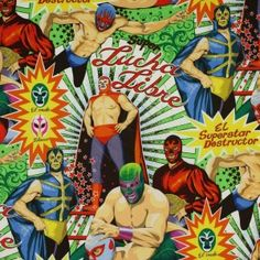 Alexander-Henry-Lucha-Libre-Mexico-Mexican-Wrestling-Wrestlers-Natural-Folklorico-Super-Cotton-Quilt-Quilting-Fabric-Adult-Baby-Kids-Novelty-Sports-TV-Film-Lg